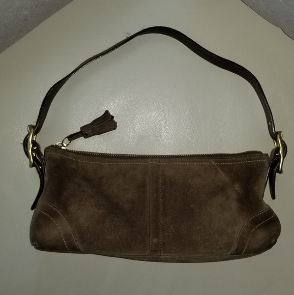 Coach Handbags - Coach suede mini bag GUC brown